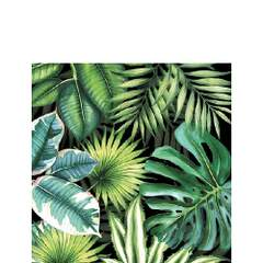 Napkin 25 Tropical Leaves Black