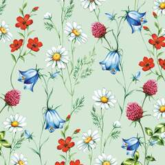 Napkin 25 Mixed Wild Flowers Green