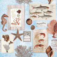 Napkin 25 Sepia Sea Blue