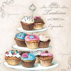 Napkin 25 Cupcakes on Etagere FSC Mix