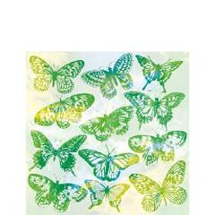 Napkin 25 Aquarell Butterflies Green