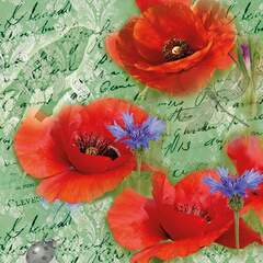 Napkin 25 Painted Poppies Green