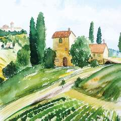Napkin 33 Tuscany Watercolor
