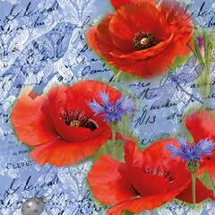 Napkin 33 Painted Poppies Blue