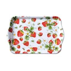 Tray Melamine 13X21cm Strawberries All Over White