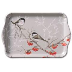 Tray Melamine 13X21cm Bird On Branch Grey
