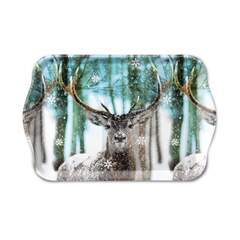 Tray Melamine 13X21cm Winter Deer