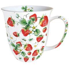 Mug 0.4 L Strawberries All Over White