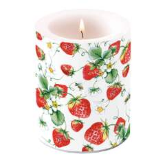 Candle Big Strawberries All Over White
