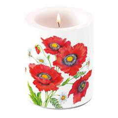 Candle Big Poppy Scene