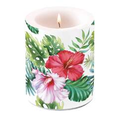 Candle Big Hibiscus Floral White