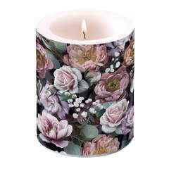 Candle Big Vintage Flowers Black