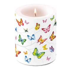 Candle Big Colorful Butterflies
