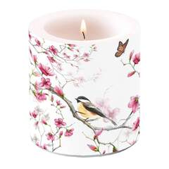 Candle Small Bird & Blossom White
