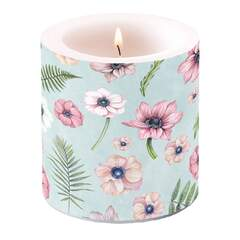 Candle Small Anemones Green