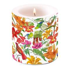 Candle Small Paradise Birds White