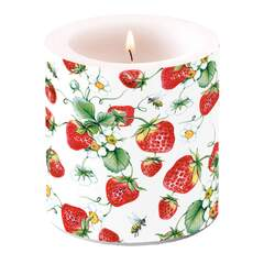 Candle Small Strawberries All Over White
