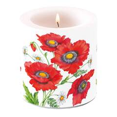 Candle Small Poppy Scene