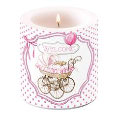 Candle Small Welcome pink