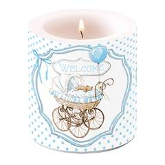 Candle Small Welcome blue