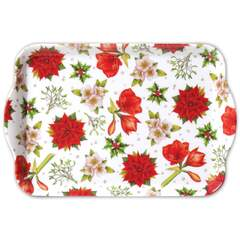 Tray Melamine 13X21cm Christmas Flowers White SE: 6