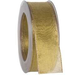 Bånd 40mm gold with wire 20m